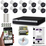 Kit Cftv 10 Câmeras VHD 1220B 1080P 3,6mm DVR Intelbras MHDX 3116 + HD 2TB WDP