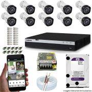 Kit Cftv 10 Câmeras Vhd 1220B 1080P 3,6Mm Dvr Intelbras Mhdx 3116 + Hd 2Tb Wdp