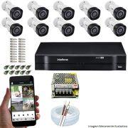 Kit Cftv 10 Câmeras VHD 3120B 720P 2,6mm DVR Intelbras MHDX 1116 + ACESSORIOS
