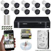 Kit Cftv 10 Câmeras VHD 3120B 720P 2,6mm DVR Intelbras MHDX 1116 + HD 500GB