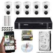 Kit Cftv 10 Câmeras VHD 3120D 720P 2,6mm DVR Intelbras MHDX 1116 + HD 1TB