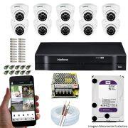 Kit Cftv 10 Câmeras VHD 3120D 720P 2,6mm DVR Intelbras MHDX 1116 + HD 1TB WDP