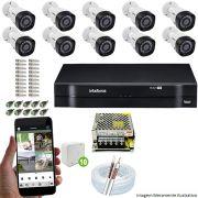 Kit Cftv 10 Câmeras VHD 3130B 720P 3,6mm DVR Intelbras MHDX 1116 + Acessórios