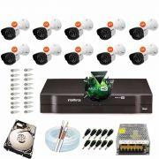 Kit Cftv 10 Câmeras VM 1120B Bullet G4 720p Dvr 16 Canais Intelbras MHDX + HD 250GB