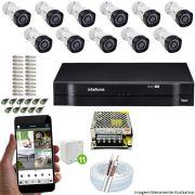 Kit Cftv 11 Câmeras VHD 3130B 720P 3,6mm DVR Intelbras MHDX 1116 + Acessórios