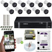 Kit Cftv 11 Câmeras VHD 3130B 720P 3,6mm DVR Intelbras MHDX 1116 + HD 2 TB WDP