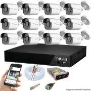 Kit Cftv 12 Câmeras AHD-M 720p Dvr 16 Canais Inova 5 em 1 HD + Acessórios