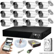 Kit Cftv 12 Câmeras AHD-M 720p Dvr 16 Canais Inova 5 em 1 HD + HD 1 TB
