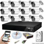 Kit Cftv 12 Câmeras AHD-M 720p Dvr 16 Canais Inova 5 em 1 HD + HD 500GB