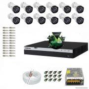 Kit Cftv 12 Câmeras VHD 1220B 1080P 3,6mm DVR Intelbras MHDX 3016 + ACESSORIOS