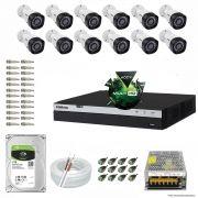 Kit Cftv 12 Câmeras VHD 1220B 1080P 3,6mm DVR Intelbras MHDX 3016 + HD 1TB BARRACUDA