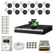 Kit Cftv 12 Câmeras VHD 1220B 1080P 3,6mm DVR Intelbras MHDX 3016 + HD 2TB BARRACUDA