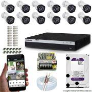 Kit Cftv 12 Câmeras Vhd 1220B 1080P 3,6Mm Dvr Intelbras Mhdx 3116 + Hd 4Tb Wdp