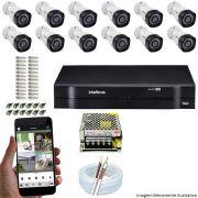 Kit Cftv 12 Câmeras VHD 3120B 720P 2,6mm DVR Intelbras MHDX 1116 + ACESSORIOS