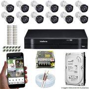 Kit Cftv 12 Câmeras VHD 3120B 720P 2,6mm DVR Intelbras MHDX 1116 + HD 1TB