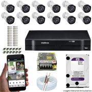 Kit Cftv 12 Câmeras VHD 3120B 720P 2,6mm DVR Intelbras MHDX 1116 + HD 1TB WDP