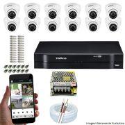 Kit Cftv 12 Câmeras VHD 3120D 720P 2,6mm DVR Intelbras MHDX 1116 + ACESSORIOS