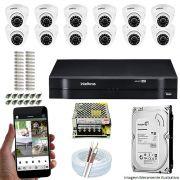 Kit Cftv 12 Câmeras VHD 3120D 720P 2,6mm DVR Intelbras MHDX 1116 + HD 1TB