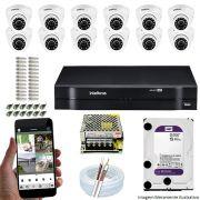 Kit Cftv 12 Câmeras VHD 3120D 720P 2,6mm DVR Intelbras MHDX 1116 + HD 1TB WDP