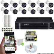 Kit Cftv 12 Câmeras VHD 3130B 720P 3,6mm DVR Intelbras MHDX 1116 + Acessórios