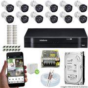 Kit Cftv 12 Câmeras VHD 3130B 720P 3,6mm DVR Intelbras MHDX 1116 + HD 1 TB