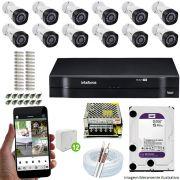Kit Cftv 12 Câmeras VHD 3130B 720P 3,6mm DVR Intelbras MHDX 1116 + HD 2 TB WDP