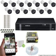 Kit Cftv 13 Câmeras VHD 3130B 720P 3,6mm DVR Intelbras MHDX 1116 + Acessórios