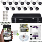 Kit Cftv 13 Câmeras VHD 3130B 720P 3,6mm DVR Intelbras MHDX 1116 + HD 1 TB WDP
