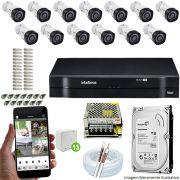 Kit Cftv 13 Câmeras VHD 3130B 720P 3,6mm DVR Intelbras MHDX 1116 + HD 500 GB