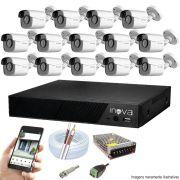 Kit Cftv 14 Câmeras AHD-M 720p Dvr 16 Canais Inova 5 em 1 HD + Acessórios