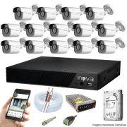 Kit Cftv 14 Câmeras AHD-M 720p Dvr 16 Canais Inova 5 em 1 HD + HD 1 TB