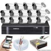 Kit Cftv 14 Câmeras AHD-M 720p Dvr 16 Canais MHDX Intelbras 5 em 1 + Acessórios