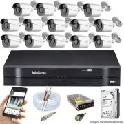 Kit Cftv 14 Câmeras AHD-M 720p Dvr 16 Canais MHDX Intelbras 5 em 1 + HD 1TB