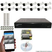 Kit Cftv 14 Câmeras Luxvision 720p Dvr 16 Canais Luxvision ECD 5 em 1 + ACESSORIOS