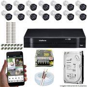Kit Cftv 14 Câmeras VHD 1120B Bullet 720p Dvr 16 Canais Intelbras MHDX + HD 320GB