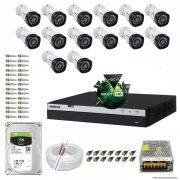Kit Cftv 14 Câmeras VHD 1220B 1080P 3,6mm DVR Intelbras MHDX 3016 + HD 1TB BARRACUDA