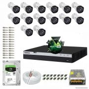 Kit Cftv 14 Câmeras VHD 1220B 1080P 3,6mm DVR Intelbras MHDX 3016 + HD 2TB BARRACUDA