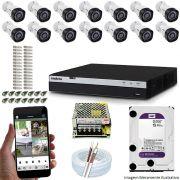 Kit Cftv 14 Câmeras VHD 1220B 1080P 3,6mm DVR Intelbras MHDX 3116 + HD 4TB WDP