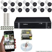 Kit Cftv 14 Câmeras VHD 3120B 720P 2,6mm DVR Intelbras MHDX 1116 + ACESSORIOS