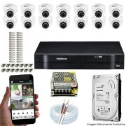 Kit Cftv 14 Câmeras VHD 3120D 720P 2,6mm DVR Intelbras MHDX 1116 + HD 1TB