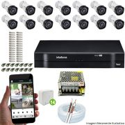 Kit Cftv 14 Câmeras VHD 3130B 720P 3,6mm DVR Intelbras MHDX 1116 + Acessórios