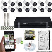 Kit Cftv 14 Câmeras VHD 3130B 720P 3,6mm DVR Intelbras MHDX 1116 + HD 500 GB