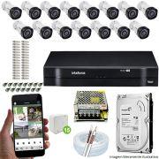 Kit Cftv 15 Câmeras VHD 3130B 720P 3,6mm DVR Intelbras MHDX 1116 + HD 1 TB
