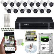 Kit Cftv 15 Câmeras VHD 3130B 720P 3,6mm DVR Intelbras MHDX 1116 + HD 1 TB Barracuda