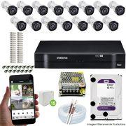 Kit Cftv 15 Câmeras VHD 3130B 720P 3,6mm DVR Intelbras MHDX 1116 + HD 1 TB WDP