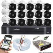 Kit Cftv 15 Câmeras VHD 3130B 720P 3,6mm DVR Intelbras MHDX 1116 + Acessórios