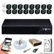 Kit Cftv 16 Câmeras AHD-M 720p Dvr 16 Canais 5 em 1 HD + HD 500GB