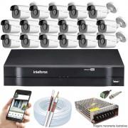 Kit Cftv 16 Câmeras AHD-M 720p Dvr 16 Canais MHDX Intelbras 5 em 1 + Acessórios