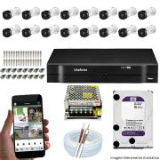 Kit Cftv 16 Câmeras Bullet HDCVI Lite VHL 1120B 720p G4 Dvr 16 Canais Intelbras MHDX + HD WDP 1TB