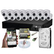 KIT CFTV 16 Câmeras Dome AHD 3,6MM Infravermelho + DVR 16 Canais 5 em 1 + HD 500 GB